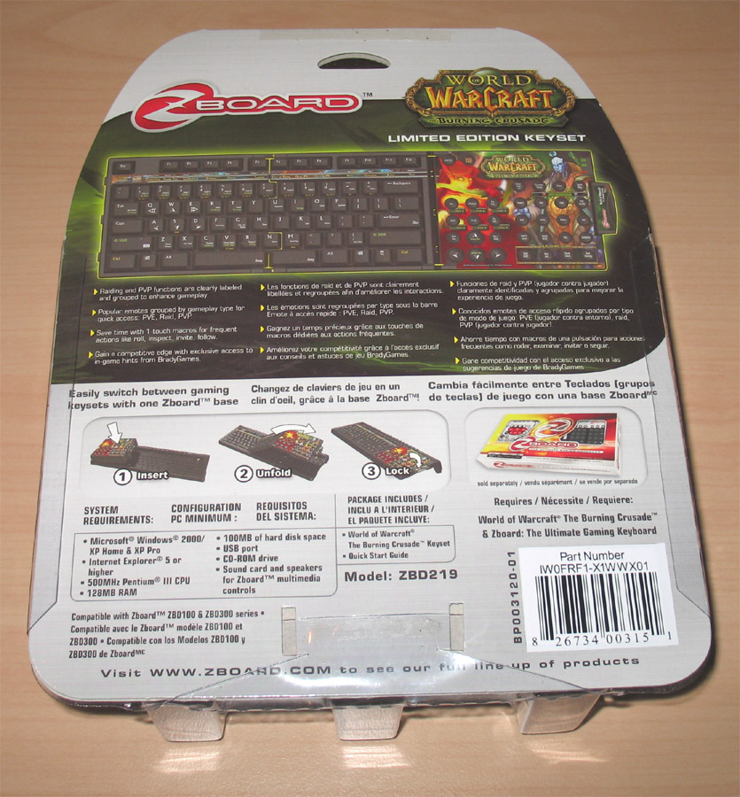 Extension clavier Zboard dédié à The Burning Crusade.
