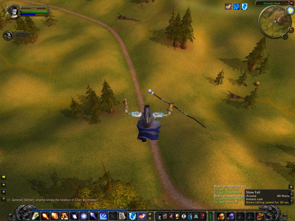 Le saut de l'ange du haut de Thunder Bluff.  Merci à Loyd pour le screenshot.