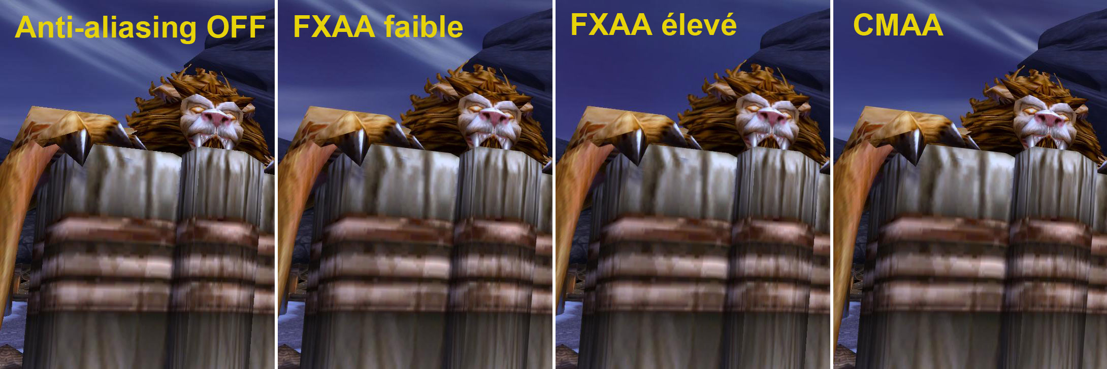 Comparatif des anti-aliasing de Warlords of Draenor (alpha juin 2014).
