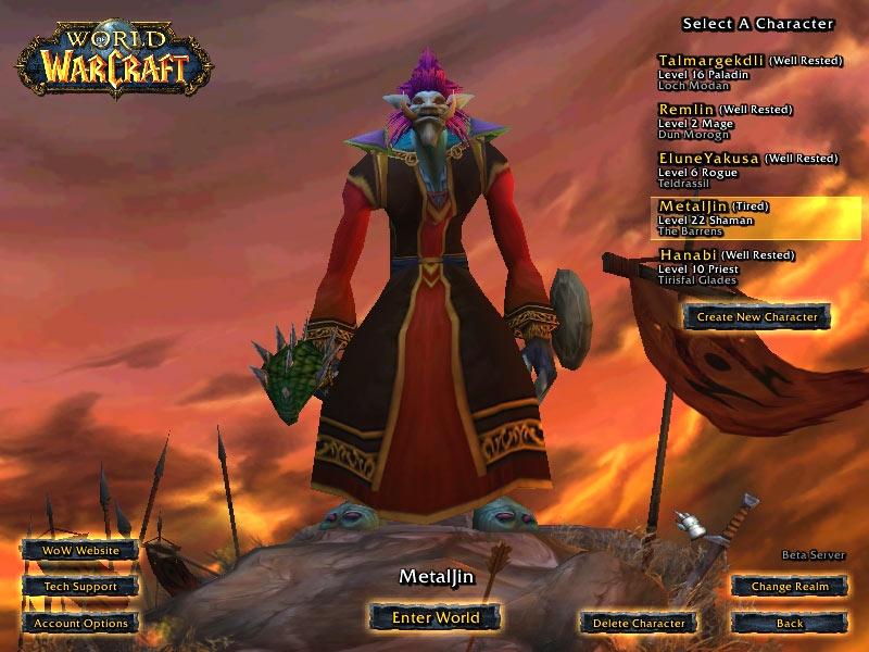 Screenshot de la beta de World of Warcraft (juin 2004)