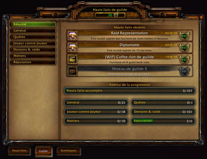 Cataclysm beta - Les hauts faits de guilde : Résumé.