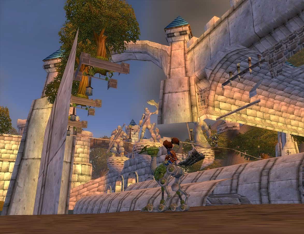 Sous-Stormwind avec vue sur l'entrée et les statues (image de WoW-Underground)