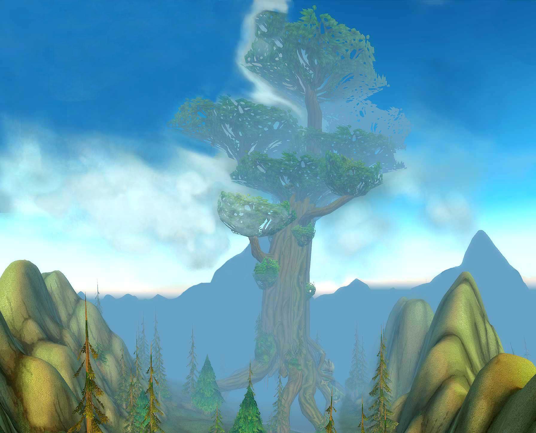 Mont Hyjal avec vue sur l'Arbre-Monde (image de WoW-Underground)
