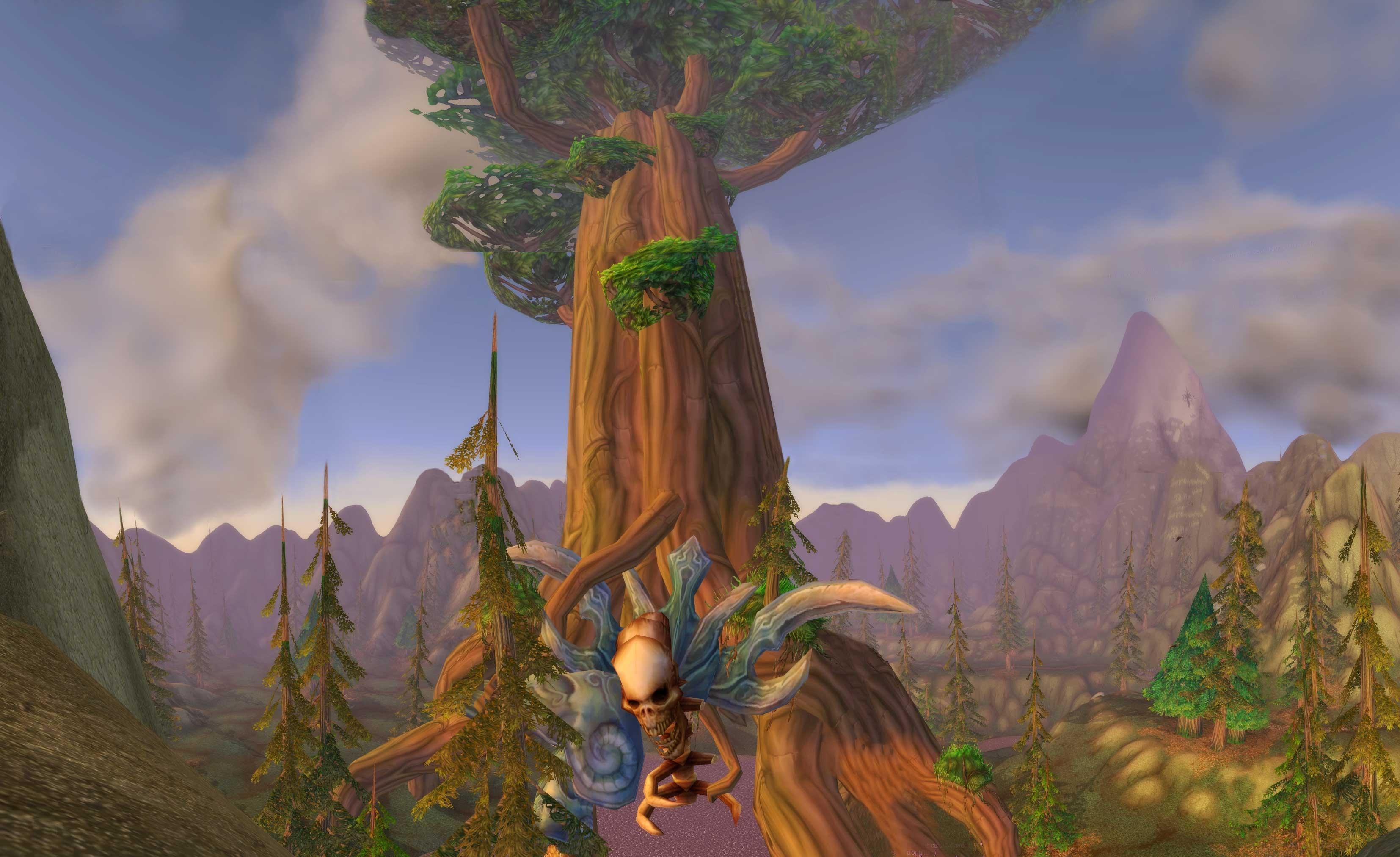 Mont Hyjal avec la dépouille d'Archimonde dans l'Arbre-Monde (image de WoW-Underground)