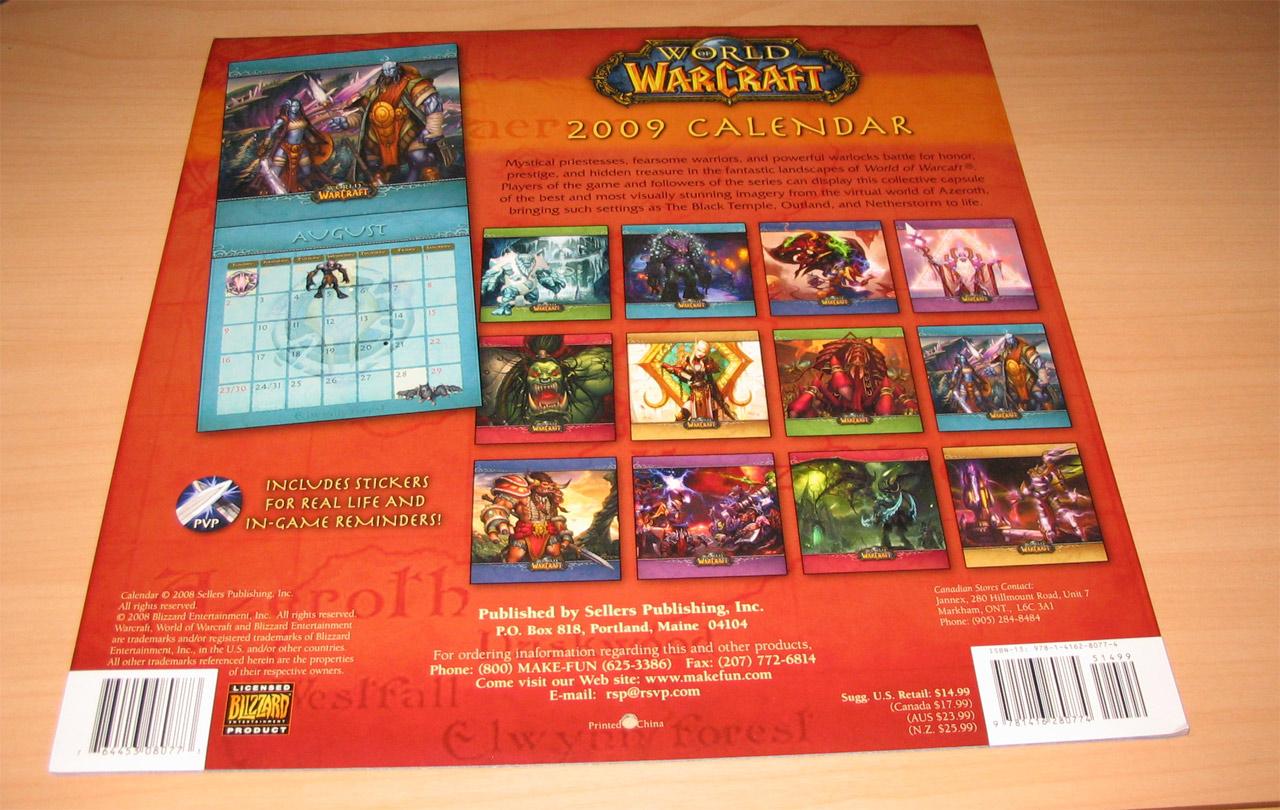 Calendrier 2009 de 16 mois pour World of Warcraft. Edité par Sellers Publishing.