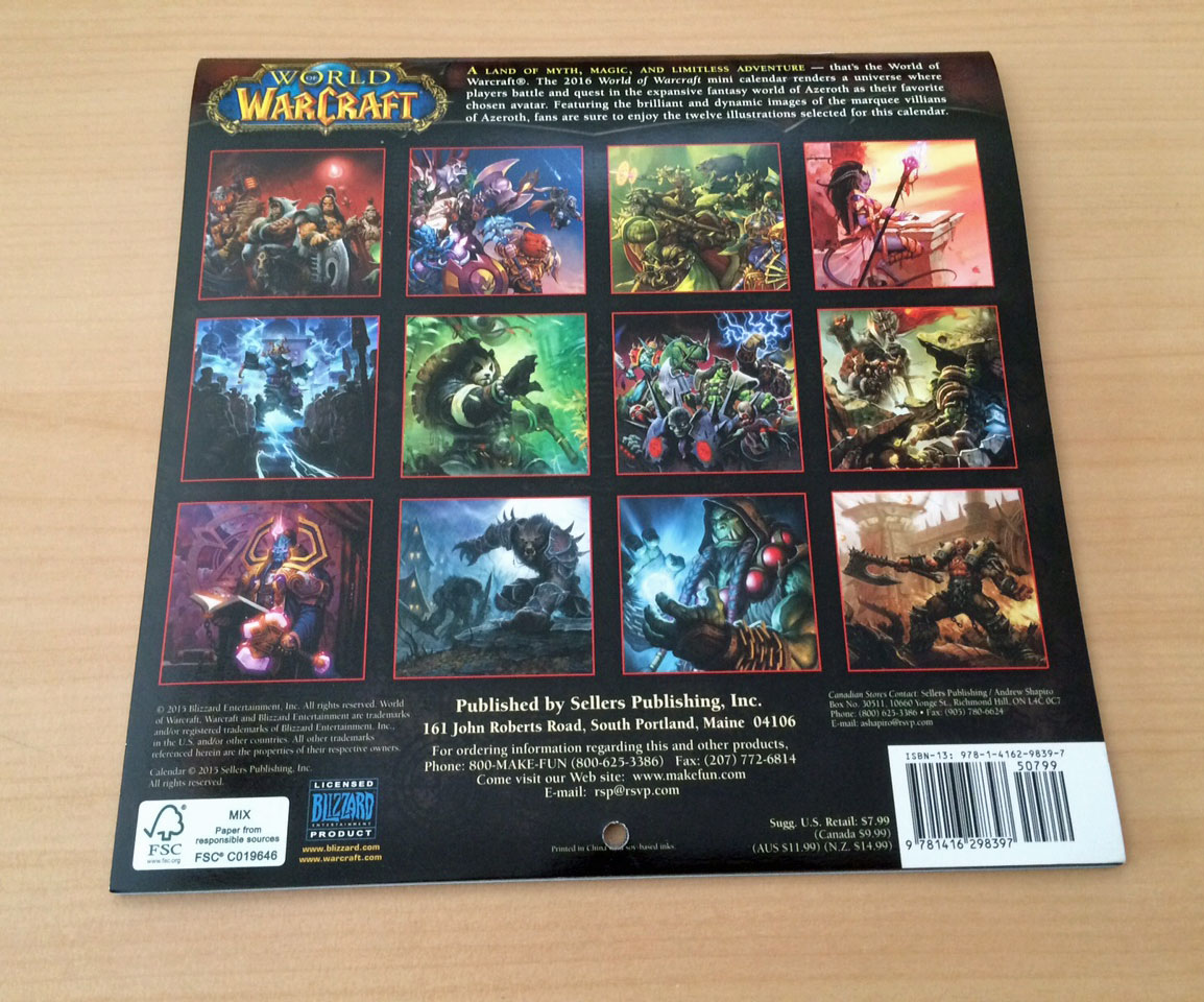 Wow Calendrier.Calendrier 2016 12 Mois De World Of Warcraft Edite Par
