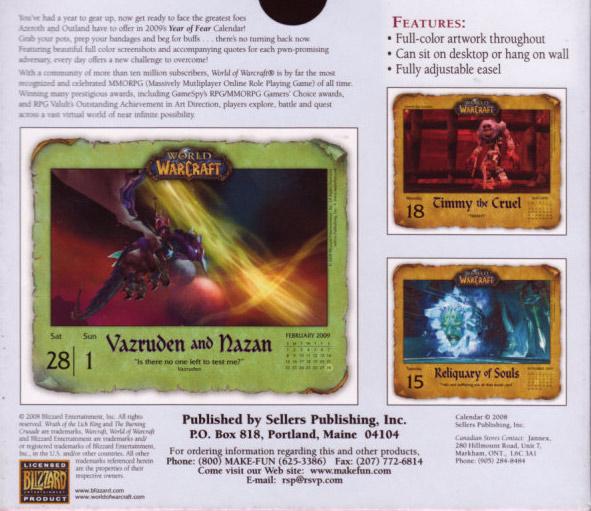 Calendrier journalier 2009 pour World of Warcraft. Edité par Sellers Publishing.