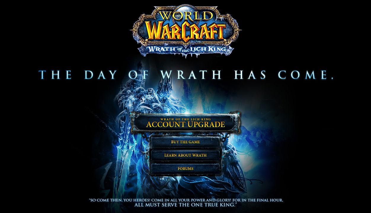 Image de la page d'accueil de Blizzard à la sortie de Wrath of the Lich King.