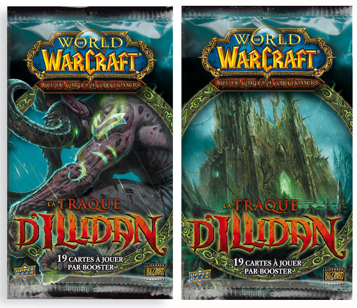Image des deux boosters de l'extension La Traque d'Illidan, du jeu de cartes à collectionner WoW.