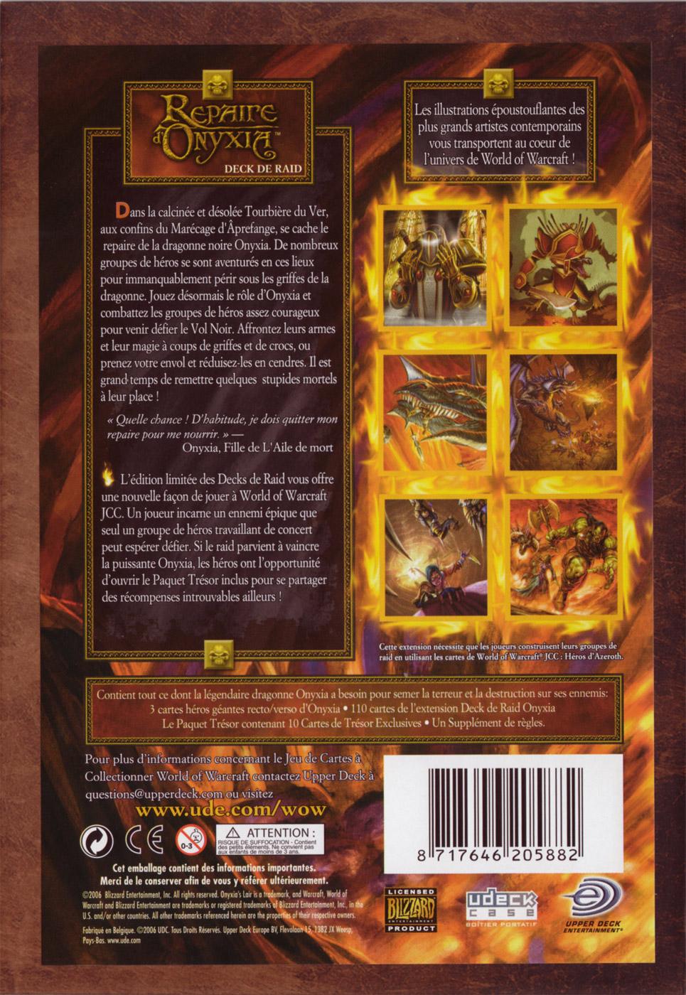 Deck de raid Onyxia, du jeu de cartes à collectionner World of Warcraft.