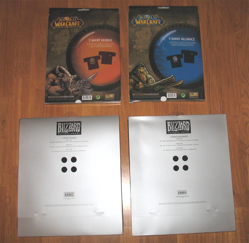 T-shirts World of Warcraft (année 2005 en bas et 2006 en haut).