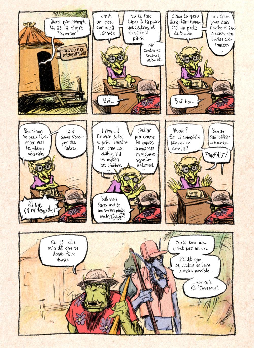 Aventures de Stevostin, tome 1 : La Porte Sombre. Planche 13.