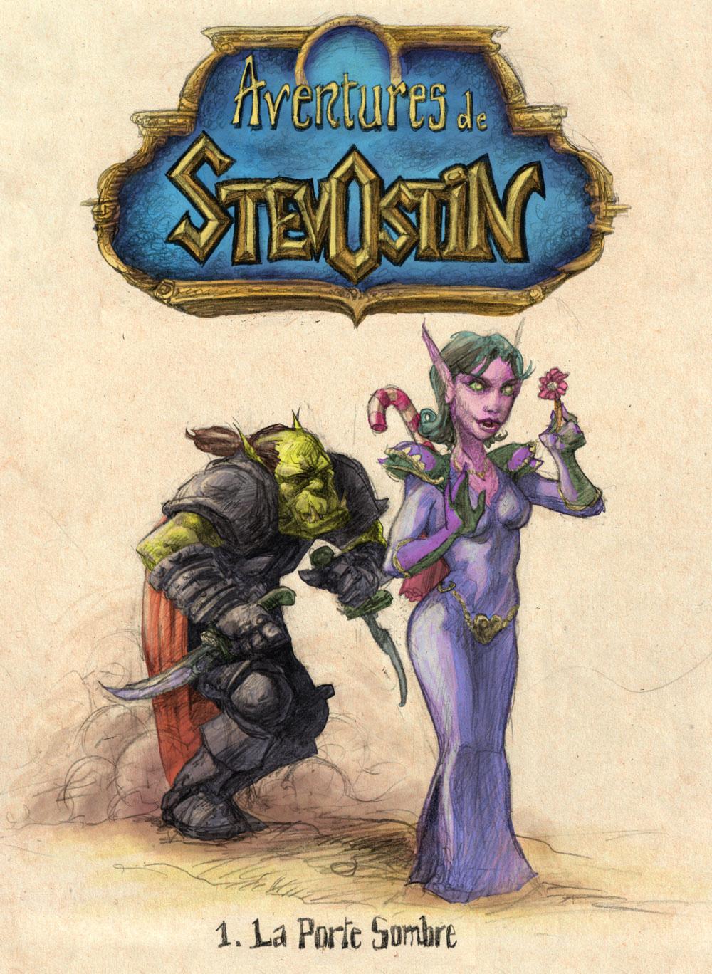 Aventures de Stevostin, tome 1 : La Porte Sombre. Couverture.