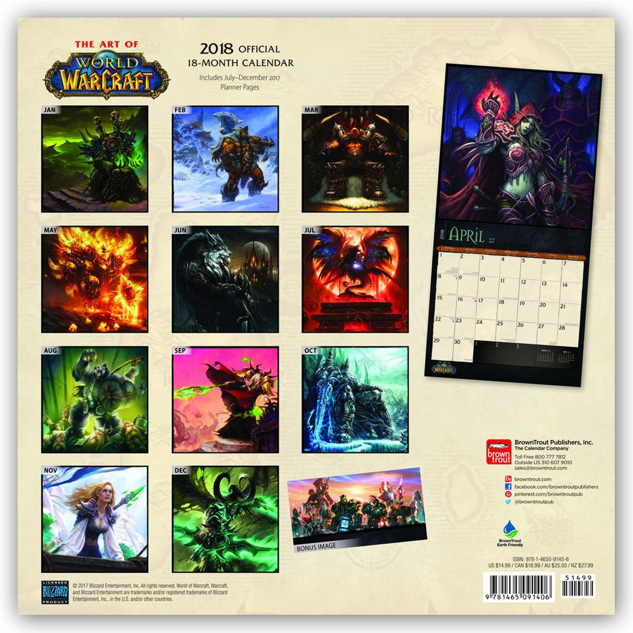 Wow Calendrier.Calendrier 2018 World Of Warcraft World Of Warcraft