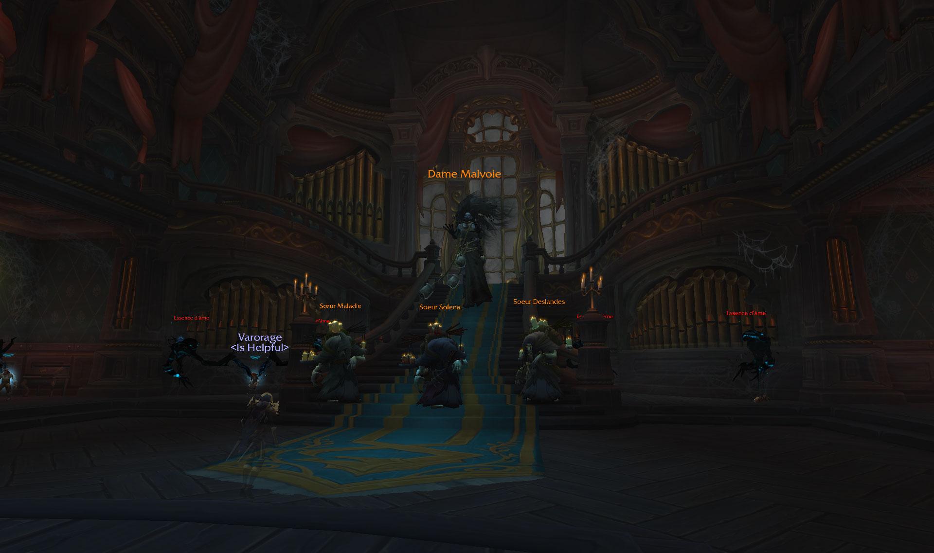Screenshot du donjon Manoir Malvoie dans World of Warcraft.