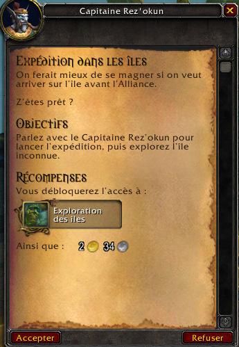 Screenshot de World of Warcraft: Battle for Azeroth. Accès aux expéditions.