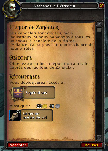 Screenshot de World of Warcraft: Battle for Azeroth. Accès aux expéditions.