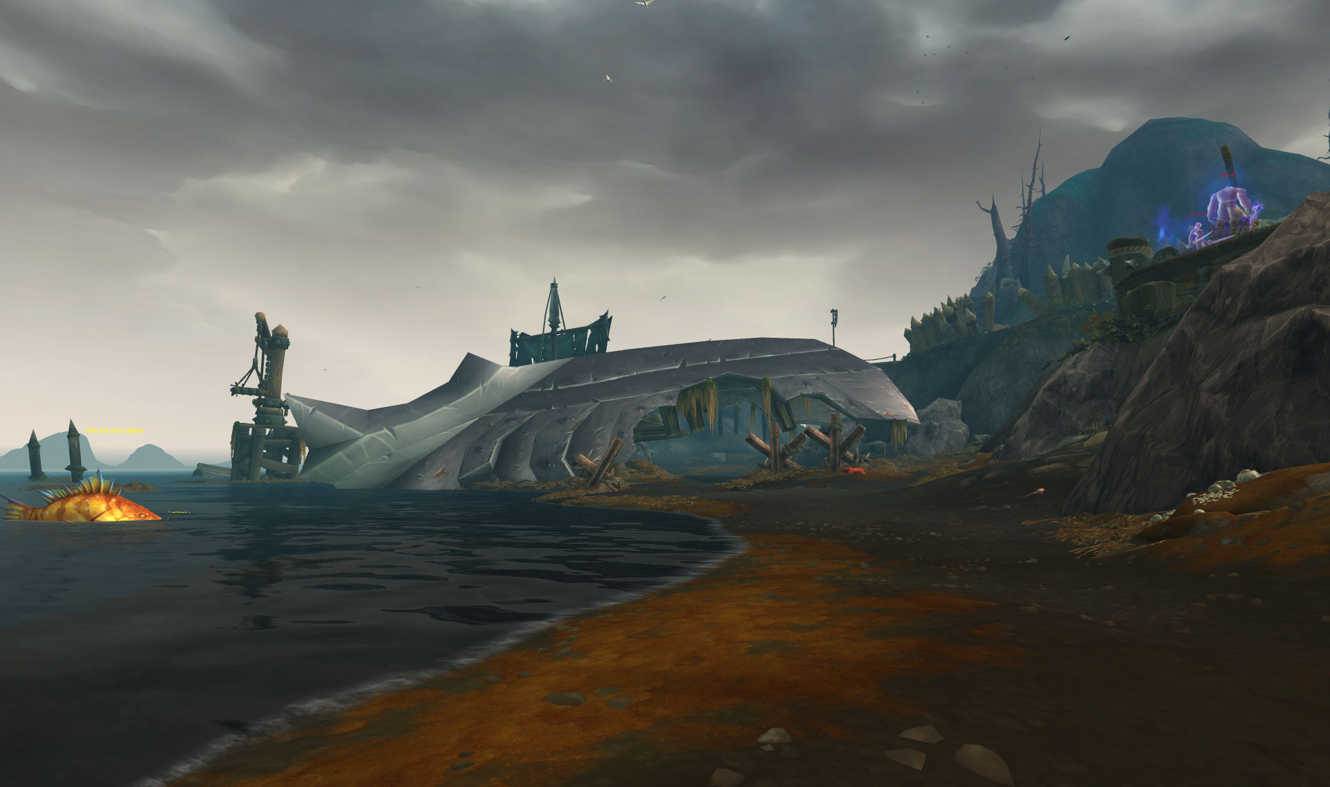 Screenshot de l'île de l'affliction (Crestfall) du patch 8.2 de World of Warcraft.