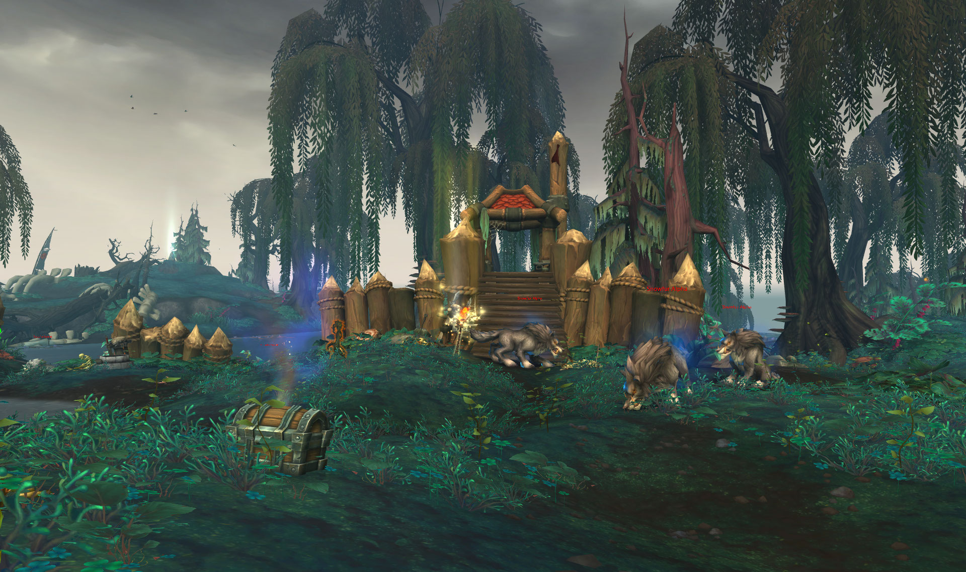 Screenshot de l'île de l'affliction (Crestfall) du patch 8.2 de World of Warcraft.