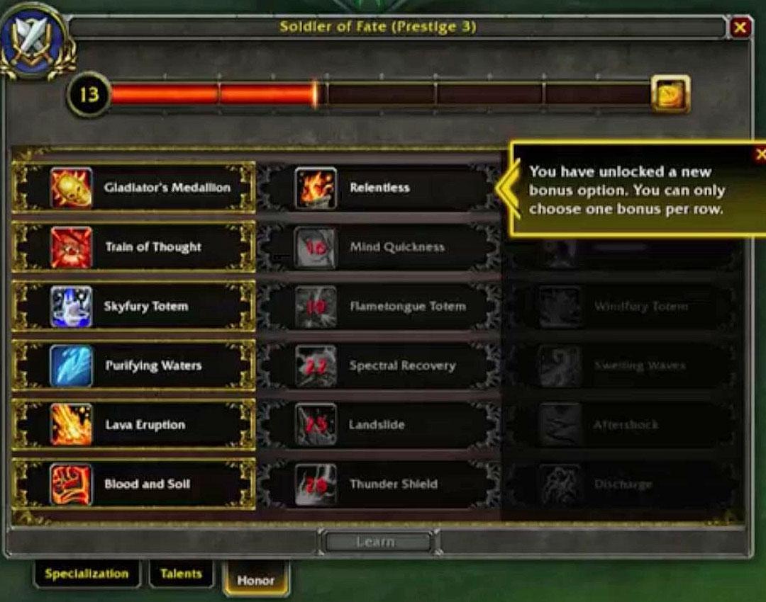 Refonte du système d'honneur PvP dans World of Warcraft: Legion.