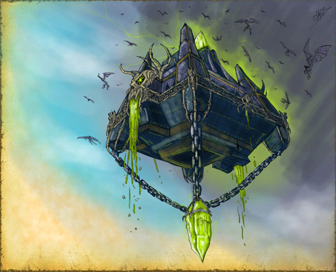Image réalisée par Elhebore pour illustrer l'histoire du royaume Naxxramas.