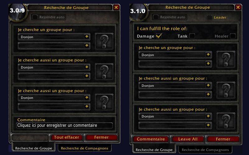 Screenshot du patch 3.1 sur les royaumes de test : La recherche de groupe.