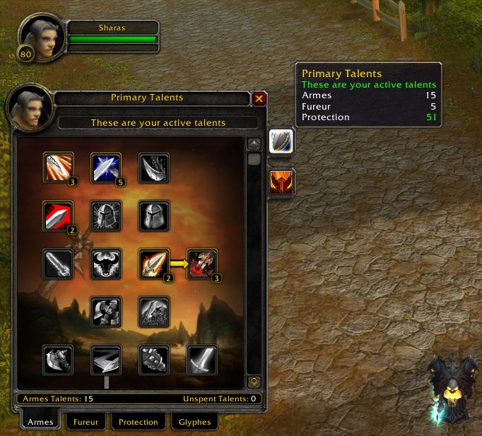 Screenshot du patch 3.1 sur les royaumes de test : La double spécialisation