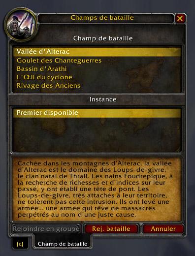 Screenshot du patch 3.1 sur les royaumes de test : Champs de bataille.