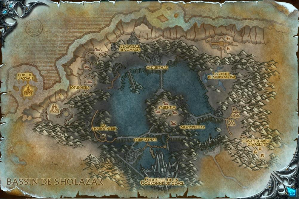 Screenshot du patch 3.1 sur les royaumes de test : Carte de la Couronne de Glace.