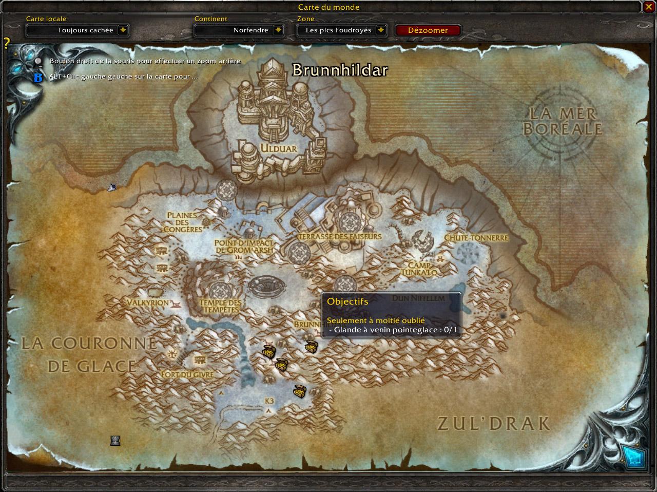 PTR 3.2 : Les créatures et objets de quête s'affichent dorénavant sur la carte du monde du joueur.