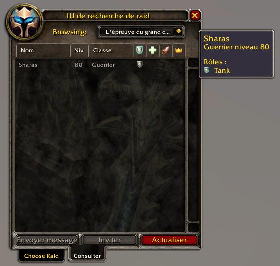 PTR 3.3 : Interface de recherche de raids.