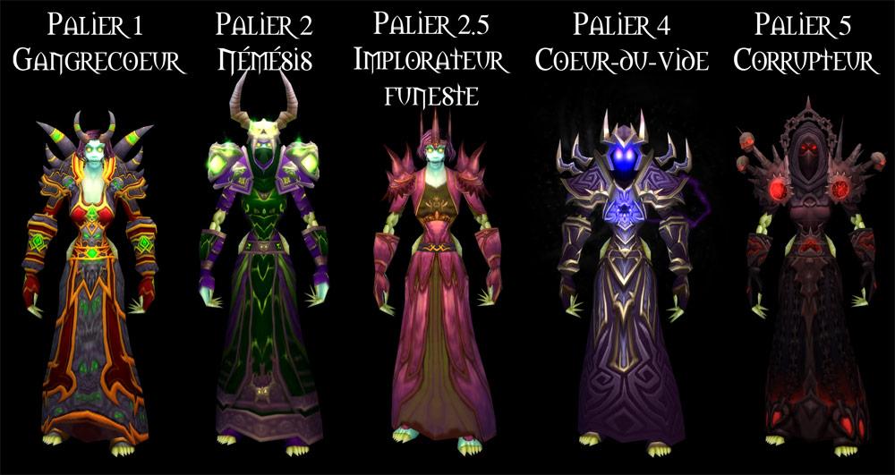 Sets d'armure Tier 1 à 5 du Démoniste