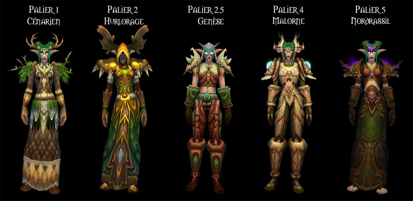 Sets d'armure Tier 1 à 5 du Druide.