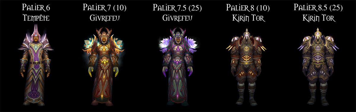 Sets d'armure Tier 6 à 8,5 du Mage.